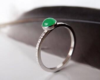 Chrysoprase Stacking Ring - May Birthstone Ring