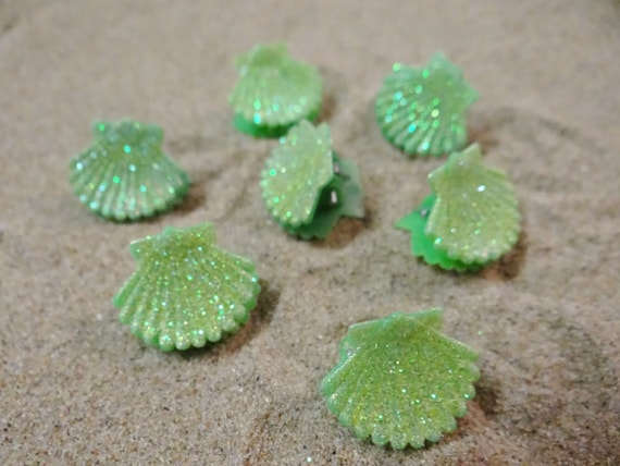 7 pc Green Glitter Little Clamshell Hairclips Shell Seashell Clam Hairclip Hair Clip Accessory Claw Mermaid Accessories Butterfly Clips