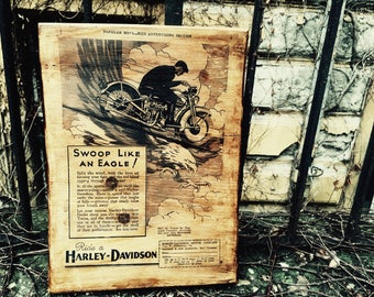 Swoop like an Eagle Harley-Davidson Sales Brochure from 1931 Motorcycle Wooden Picture Wall Decor Home Decor