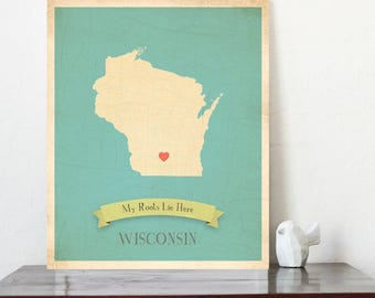 Wisconsin Roots Map 11x14 Customized Print