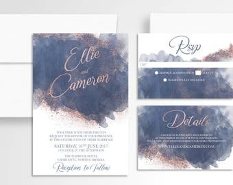 Watercolor Rosegold Wedding Invitation // Invitation Suite //Watercolor Wedding Invitation // Wedding Stationery //Navy Rosegold