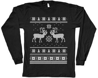 Mens Christmas Ugly Sweater Tshirt Hand Screen Print American Apparel Crew Neck Long Sleeve tshirt