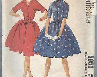 1960s Dress Pattern McCalls 5953 Vintage Womens Sewing Patterns Full Skirt Pattern Size 11