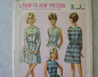 Vintage 1960s Dress Pattern - Simplicity 6330 - 34 Bust