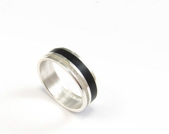 Sterling Silver Ring, Wedding  Band, Black, White, Contemporary Jewelry, Unisex, Contemporary, Modern