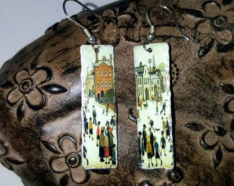 Little People Lowry Upcycled Tin Lightweight Earrings Sterling Silver Ear Wires Boho Hippy Art Lover Wearable Art Boho Hippy Unusual Gift
