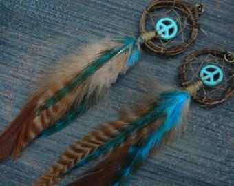 feather earrings, festival earrings, boho earrings,  dreamcatcher earrings, peace sign, tribal inspired,tribal fusion, boho,  hippie
