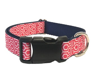"""1"""" Pink Honeycomb Martingale or Buckle Collar, Leash or Harness"""