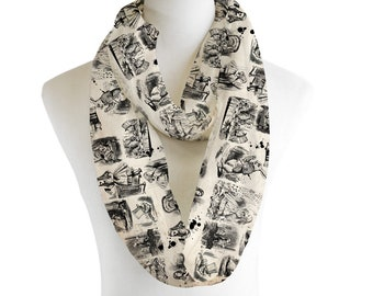 Alice in Wonderland Sketch Lightweight Infinity Scarf Fashion Loop Chiffon Jersey