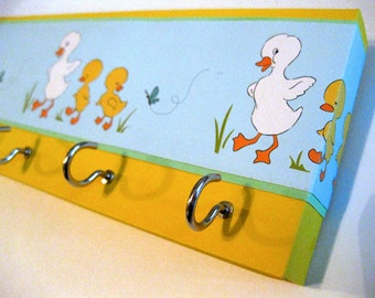 "Jewelry Holder Key Rack  Duck Jewelry Holder Duck Key Rack Easter Mother and Baby Nursery Decor Childrens Decor, Kids Decor ""Ducks in a Row"