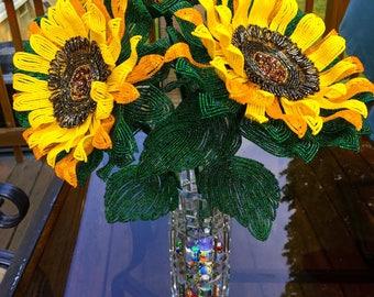 French Beaded Sunflower