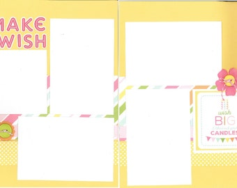 12x12 MAKE A WISH GIRL scrapbook page kit, premade scrapbook, 12x12 premade scrapbook page, premade scrapbook pages, 12x12 scrapbook layout