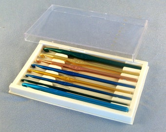 Box of 8 Metal Crochet Hooks // Stamped Letter Sizes // Various Colors // Used // Clean