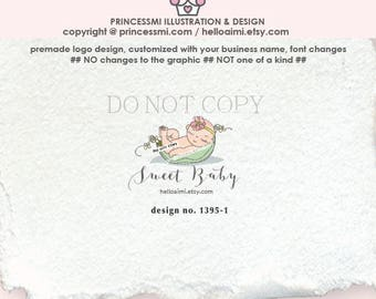 1395-1  sweet pea logo, logo design, newborn logo, business branding, newborn business, newborn photography, logo branding,  boutique logo