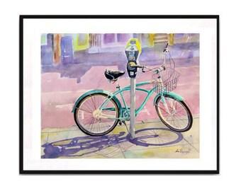 Bikes of San Francisco Bicycle green bicycle art green art Bicycle landscape artwork Watercolor print Bike gears WatercolorByMuren N