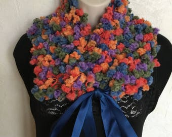 Collar, neck warmer, snood multicolor wool blend hand knitted belt
