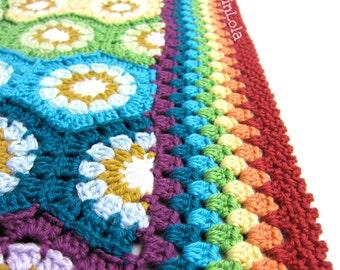 rainbow baby blanket - rainbow hexagon baby blanket - crochet baby blanket - handmade by RockinLola