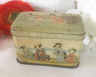 Antique Asian Tea Tin Litho Box, Vintage Advertising G.M. Sch. Japanese Geisha, Can Canister, pretty lady,