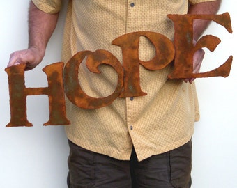 """Hope Metal Wall art 27"""" wide sign - choose your color with rust patina - rusted steel sign wall decor - hope metal sign painted rust patina"""