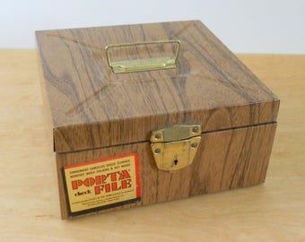 Vintage Faux Bois Porta File • Wood Grain Metal File Box • Ballonoff File Box