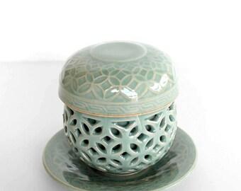 Korean Double-ware Blue-Green Celadon Cup and Saucer, Tea Ceremony, Authentic Zen Tea Ware, Jade Ceramic