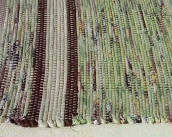 Plowed Fields - Green Rag Rug with Yellow and Brown Stripes