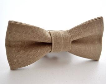 Children's Bowtie in Khaki Linen, Tan Bow Tie, Beige Bow Tie,  Neutral Bow Tie, Ringbearer Bow Tie, Light Brown Bow Tie