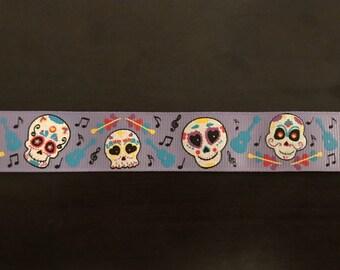 """1"""" Calavera Day of the Dead Sugar Skull Collar - Purple"""