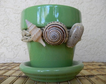Ceramic Planter Plant Pot, 4 inch planter,Green Flower Pot, Light Green, Glazed, Terra Cotta Flower Pot