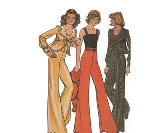 ON SALE Boho Bell Bottom Pants Camisole and Flared Jacket Vintage 1970s Fashion Sewing Pattern Size 10 Bust 32.5 Ribbon Tie Closure McCalls