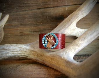 Oh Deer Vintage Blue Rhinestone and Brass Leather Cuff