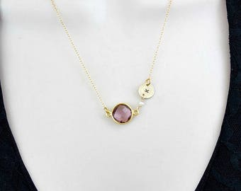 Birthstone Necklace, Gold Initial Necklace, Personalized Gift, Initial Jewelry, February Birthstone, Custom Necklace, Pink Amethyst, silver,