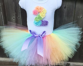 Pastel Rainbow Tutu Outfit with Matching Headband for 2nd Birthday   Second Birthday Birthday Rainbow Outfit