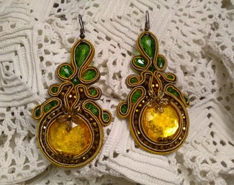 Flamenco earrings, party earrings, soutache earrings, lady complement, bridesmaid, vintage earrings, mother's Day