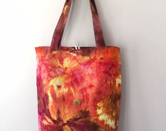Ice Dyed Tote Bag, Handsewn, Sturdy! #124