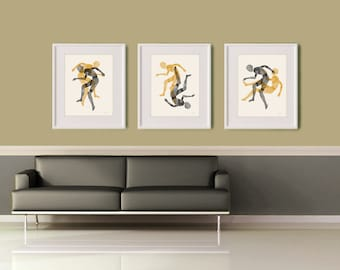 Wall Art Print Set, Human Figure Art, Large Art, Abstract Art, Modern Art, Figurative Art, Print Set of 3