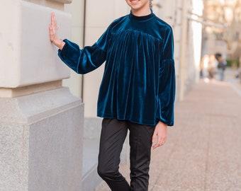 Velvet gathered blouse with long sleeve, Girl blue velvet shirt, Velveteen fabric top, Victorian blouse Romantic top Toddler formal wear