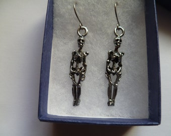 Skeleton Earrings - Halloween Goth Horror Silver Dangle Skull Scary