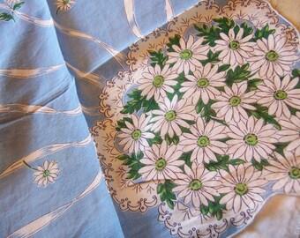white daisies vintage hanky