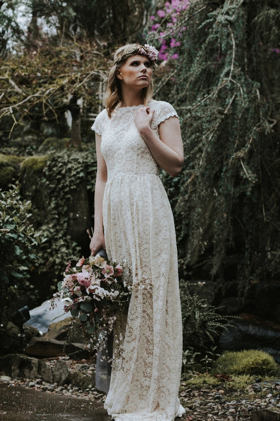 Ivory or white lace bohemian backless wedding gown simple and for Bohemian wedding dress shops