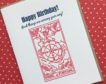 Tarot Card Birthday Letterpress Card