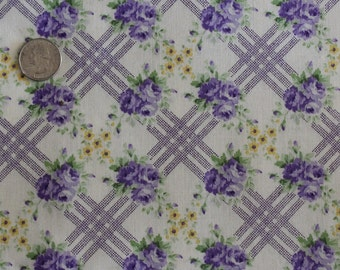 Purple Flowers Cotton Fabric Sold by The Half Yard