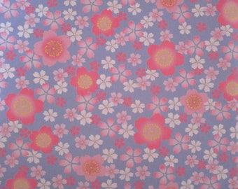 Japanese fabric pink sakura cherry blossom patterns on purple background 50 x 55 cm