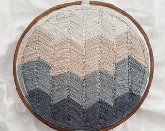 Home Away from Home: abstract embroidery chevron wall hanging/home decor