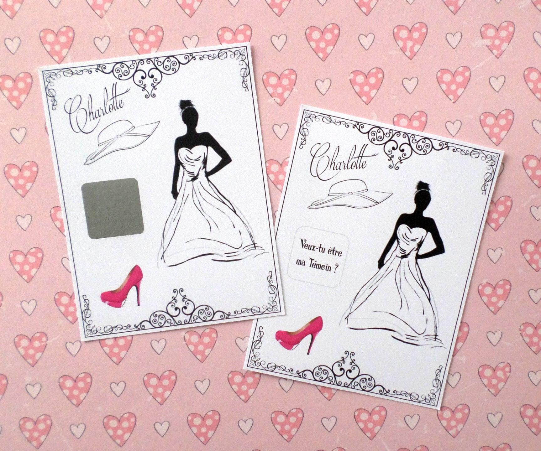 Annonce Témoin Mariage tout 1 carte à gratter personnalisée mariage témoin homme femme
