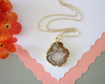 Geode Necklace, Druzy Necklace Gold, BoHo Necklace, Crystal Necklace, Geode Slice, Gold Slice Druzy,GCH41