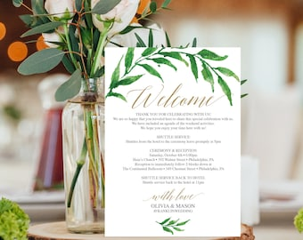 Wedding Itinerary Template - Wedding Welcome Bag Printable Itinerary - Welcome Letter - Wedding Agenda - Instant Download - Golden Greenery