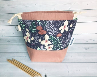 woodland Nymph/Small Project bag for Crochet/Knitting Bag/Crochet Bag/Project Bag/Sock Project Bag/Small Project bag/drawstring Project Bag