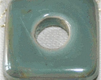Blue/Green ceramic square bead