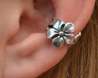 Plumeria Ear Cuff - Sterling Silver, Gold Vermeil, Rose Gold Vermeil - SINGLE SIDE or PAIR